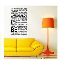 Maison de famille règles LOVE mur Citation Autocollants Decal Art Mural Vinyle Décoration Papier