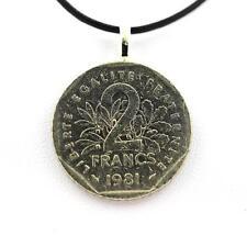 """Pendentif Pièce de Monnaie Authentique """" France """" 2 francs Semeuse + cordon cuir"""
