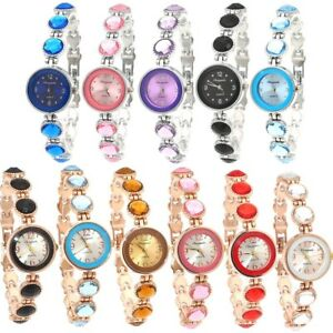 Fashion Women Ladies Girl Colorful Stones Dress Analog Bracelet Wristwatch O72