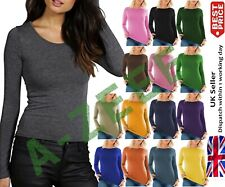 Ladies T-shirt Top New Women's Long Sleeve Round Scoop Neck Stretched