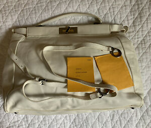 Fendi Womens Large Leather Peekaboo Tote Bag White