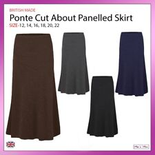 Ladies Ponte Cut About Panelled Midi Skirt Casual Work Formal Plus Sizes 12-22