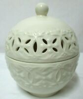 L. Godinger & Co Porcelain Ivory textured Lace Potpourri Jar Trinket Box