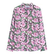 NWT 165USD DM floral print pink green silk shirt blouse size M equipment fabric