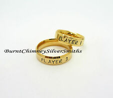 PLAYER 1 - PLAYER 2 Video Game Rings Hand Stamped Gold/Stainless Steel BCSS-R081