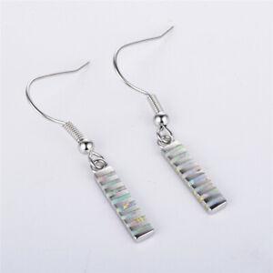 Women White Simulated Opal Silver Hook Dangle Drop Earrings Valentine's Gift
