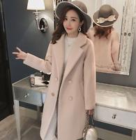 Korean Slim Women's Double Breasted Coat Wool Blend Thicken Outwear Warm Jacket