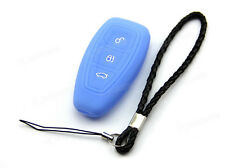 Blue Silicone Case Cover For Ford Fiesta C-Max Titanium Remote Smart Key FOCR3BU