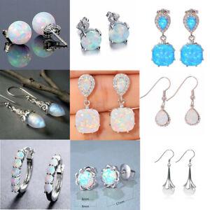 Elegant Women 925 Silver White Fire Opal  Ear Stud Earrings Wedding Jewelry