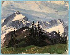 Impressionismus Gebirge Schnee Ölgemälde Alpen-Vorfrühling Margarethe Hamm ~1925