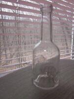 "Glass Bottle Small Round Stemmed Clear Clean 4.5"" x 1.75"" Faint Gold Gilt Logo"