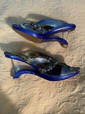 Wild Rose Rhinestone Modern Blue Funky Wedge Sandal Heel Shoes 7.5 Euc - Rare!