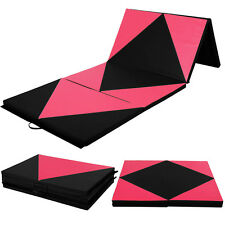 "4'x10'x2"" Gymnastics Mat Folding Panel Thick Gym Fitness Exercise Pink/Black New"