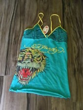 ED HARDY TEAL BLUE CAMISOLE TANK TOP TIGER NWT S