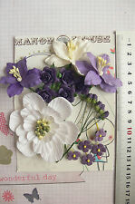 PURPLE WHITE Mix - 19 Flowers 5 Styles 3 Tones - PAPER Approx 5-70mm HH4
