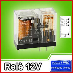 Relè 12V 250V 5A RELAY da circuito stampato contatti NA NC G2R-2-12VDC