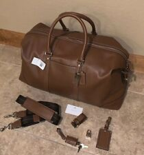 New Coach Transatlantic Cognac Leather Boston Duffle Bag 77168 + Lock & Keys NWT