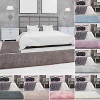 Bettumrandung Shaggy Micro Polyester Teppich-Läufer Einfarbig Uni Schlafzimmer