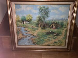 ANTIQUE HUNGARIAN JANOS FENT OIL ON CANVAS LANDSCAPE PAINTING SIGNED