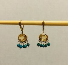 Vintage 14k Yellow Gold Honey Topaz Turquoise Ball Drop Dangle Earrings Signed