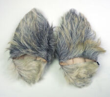 Handmade Moroccan gray goat hair fur babouche slippers US6 - 6.5