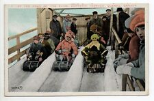 CANADA carte postale ancienne QUEBEC Dufferin TERRACE Toboggan slide at the head