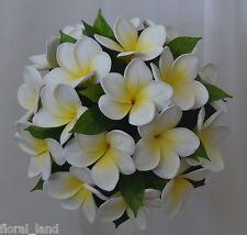 WEDDING BOUQUET BRIDAL POSY SET LATEX REAL TOUCH WHITE YELLOW FRANGIPANI FLOWER