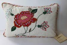 Domain Floral Decorative Embroidered Boudoir Pillow - 12x18
