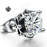 Silver stud made with clear swarovski crystal earring SINGLE soft gothic 1.25ct