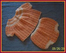 Orange-White Trim Hand-Crocheted Handmade 2-Piece Baby Sweater Set 0-6 mo