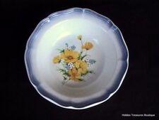 "Mikasa Country Club Amy 9"" Vegetable Bowl Yellow Wildflowers Blue Edge"