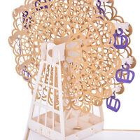 3D Pop Up Ferris wheel Handmade Greeting Card Kirigami Xmas Birthday Kids GiftBH