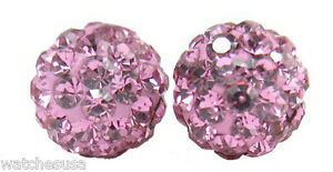 Sterling Silver Sparkling Crystal 12mm Pink Round Ball Stud Earrings