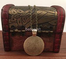 Popular Vintage Living Tree Glass Cabochon Bronze Chain Pendant Necklace FR