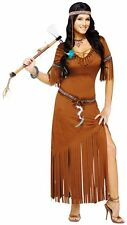 Womens Native American Indian Summer Costume Suede LOOK Dress Fw124134 M/l