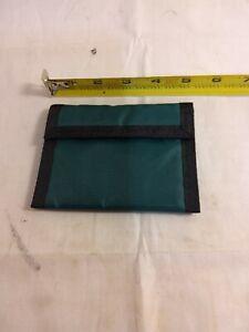 Dark Green Nylon Tri-Fold ID Wallet/Billfold with Secure Velcroe Strip *C164