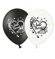 """Just Married - Heart - 12"""" Wedding Black & White Latex Balloons pack of 15"""