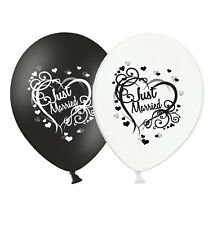 "Just Married - Heart - 12"" Wedding Black & White Latex Balloons pack of 15"
