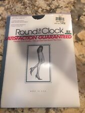 Round The Clock Control Top Sheer Leg Pantyhose Silky Lycra 62 Size D Navy