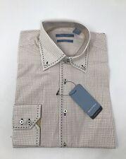 NWT Mondo di Marco Men's Size M Beige Checkered Button Down Dress Shirt