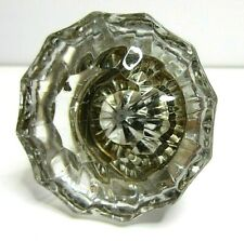 Vtg Door Knob Handle Clear Glass Reclaimed Victorian 12 Point