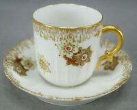 Haviland Limoges H532 Green Floral & Gold Demitasse Cup & Saucer C. 1888-1930