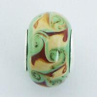 Murano Glass Bead Swirls 14mm high sterling silver core for charm bracelet