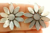 White Mother of Pearl Flower 925 Sterling Silver Dangle Drop Hook Earrings