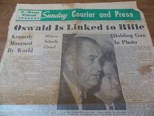 November 24, 1963 Newspaper.  John F. Kennedy, Lyndon Johnson, Lee Oswald