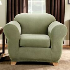 SureFit Stretch Stripe 2-Piece - Chair Slipcover - Sage