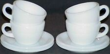 FOUR (4) SETS FIRE KING WHITE W299 CUPS~W295 SAUCERS EXTRA HEAVY RESTAURANT WARE