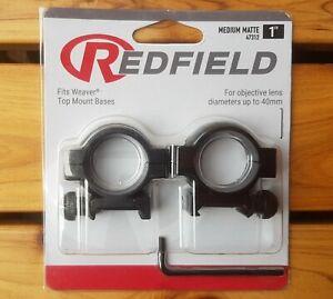 """Redfield 1"""" Weaver Rifle Scope Rings Mounts - MEDIUM Matte #47312"""