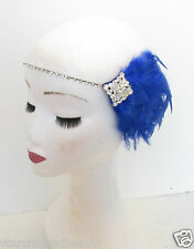 Sapphire Blue Silver Feather Headpiece Flapper Vintage 1920s Headband 1930s M88