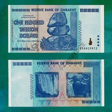 100 Trillion Zimbabwe Dollars Bank Note AA 2008 ~ Almost UNC Authentic Banknote